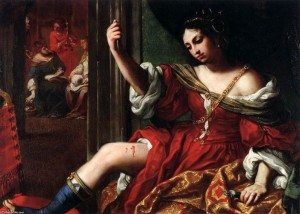 Porcia wounding her thigh, by Elisabetta Sirani.