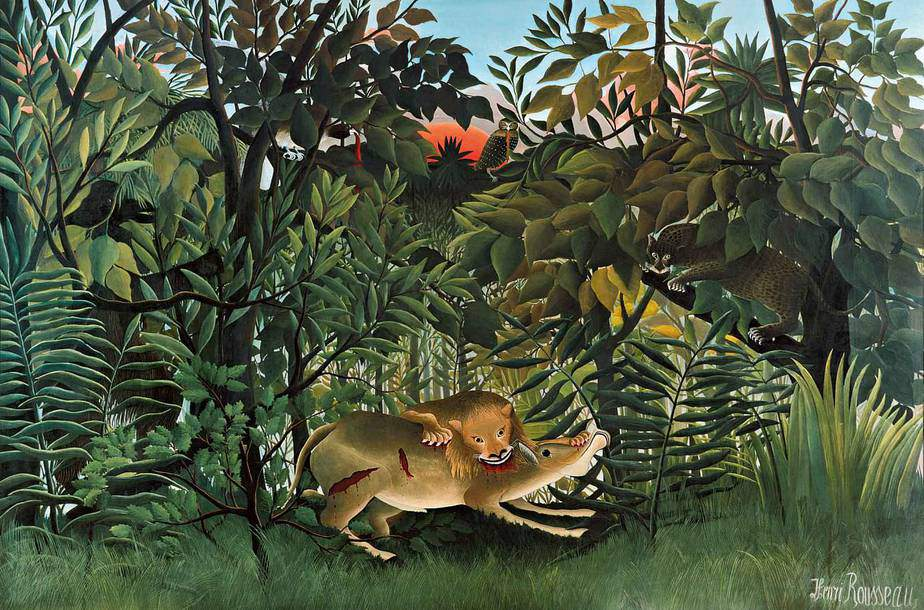 The Hungry Lion Throws Itself on the Antelope Naive Art