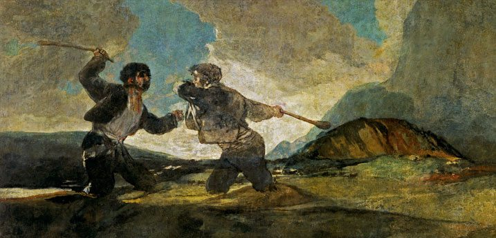 Fight-with--Cudgels-by-goya-paintings