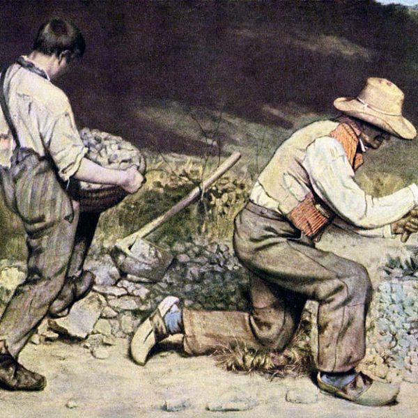 The Stone Breakers Painting by Gustave Courbet.