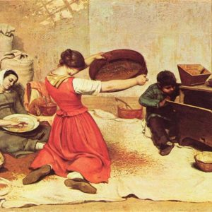 The Wheat Sifters Painting by Gustave Courbet.