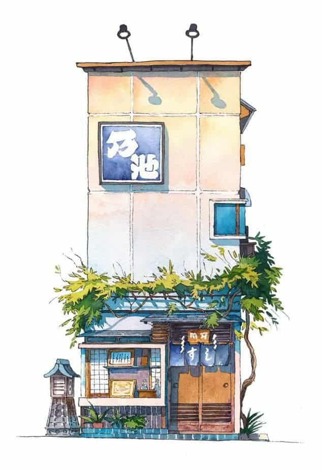 Tokyo Store Front Watercolor painting by Noike