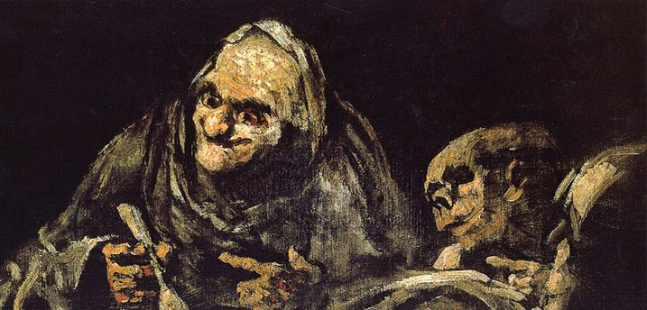 Two Old Men Black Paintings by Goya