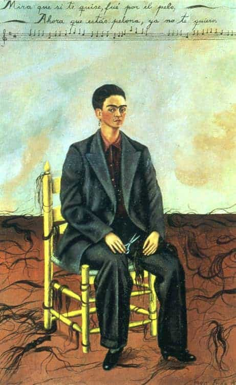 Self Portrait with Cropped Hair Frida Kahlo Paintings