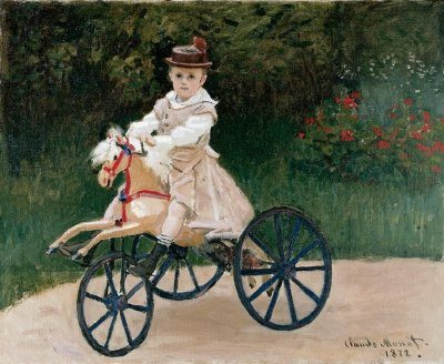 Jean Monet on His Hobby Horse by claude monet