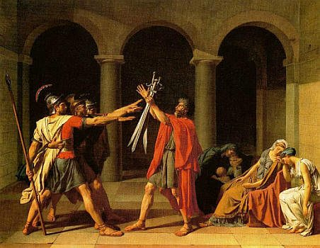 Death in Art represented by Oath of the Horatii
