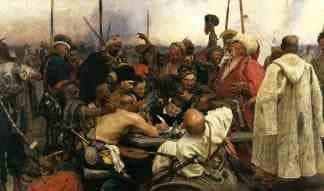 Realism art depicted by Reply of the Zaporozhian Cossacks to Sultan Mehmed IV of the Ottoman Empire