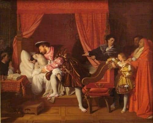 Death in paintings represented by The Death of Leonardo da Vinci