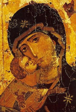 byzantine art depicted by Theotokos of Vladimir