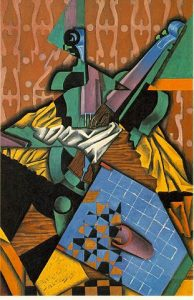 Cubism art depicted by Violin and Checkerboard