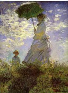 Cubism art depicted by Woman with a Parasol