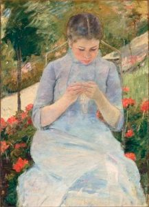 Impressionism art depicted by Young Woman Sewing in a Garden