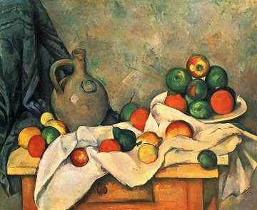 Curtain, Jug and Fruit Bowl by Paul Cezanne