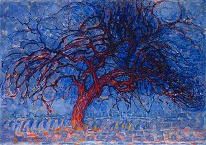 Famous Artwork Evening; Red Tree by piet mondrian