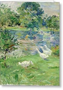 Girl in a Boat, with Geese by Berthe Morisot