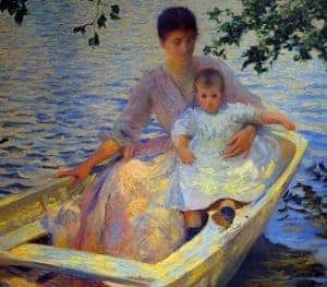 Love in Art depicted by Mother and Child in a Boat