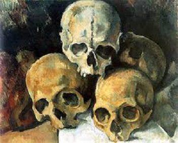 Pyramid of Skulls by Paul Cezanne