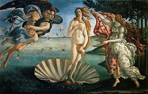 Famous Renaissance painting The Birth of Venus by Sandro Botticelli