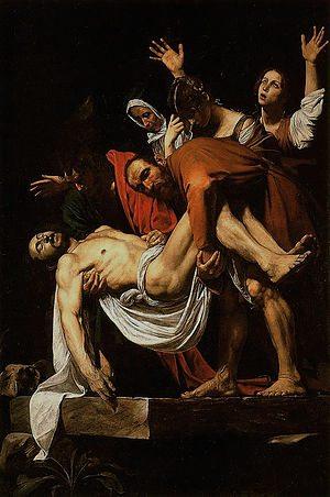 Famous Renaissance painting The Entombment of Christ by Caravaggio