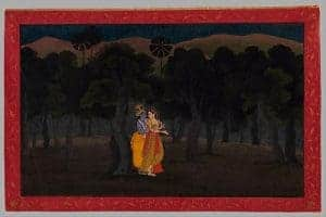 Love in Art depicted by The Lovers Radha and Krishna in a Palm Grove