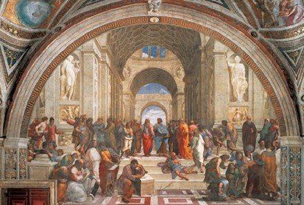 Famous Renaissance painting The School of Athens by Raffaello Sanzio