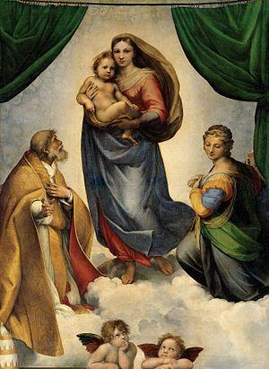 Famous Renaissance painting The Sistine Madonna by Raphael