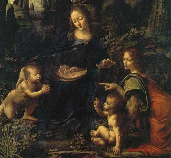 Famous Renaissance painting Virgin of the Rocks by Leonardo da Vinci